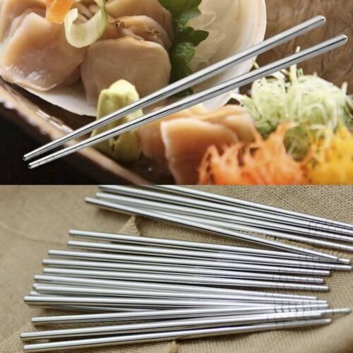 Classic Stainless Steel Reusable Chopsticks Metal Korean Chinese Chop Sticks UK
