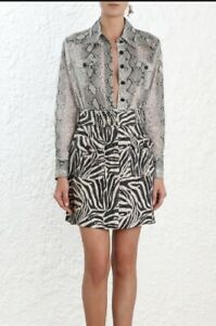 low priced a1348 50ef7 Details about Zimmermann Corsage Body Shirt Blouse | Linen/Silk Utility  Pockets Snake Print