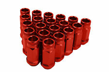 20 RED FORGED ALUMINUM RACING LUG NUTS  M14X1.5 THREAD PITCH CONICAL SEAT