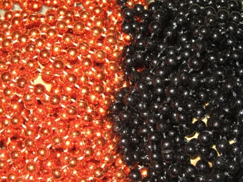 BLACK /& ORANGE MARDI GRAS BEADS PARTY FAVORS NEW-FREE SHIPPING! 72 6 DOZEN