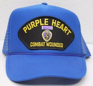 Purple Heart Vietnam Hat Cap Trucker Veteran Combat Wounded Patch ... c19f9eeef1e
