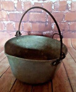 Vintage-Retro-Galvanised-Cauldron-Bucket-with-Handle-Garden-PlanterCooking-Pot