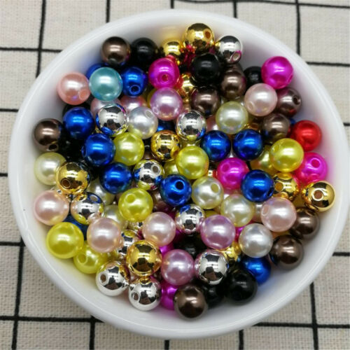 6 8//10mm Acrylic Round Pearl Spacer Loose Beads Jewelry Making DIY JND Hot 4