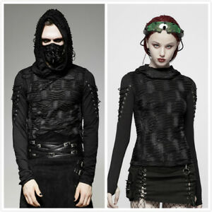 Punk-Men-Long-sleeves-Hooded-Black-Steampunk-Gothic-Top-Rock-Visual-Kei-T-Shirt