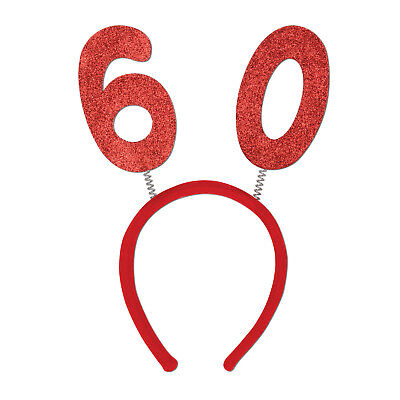 60th Compleanno Rosso Glitter Tiara Testa Boppers-mostra Il Titolo Originale