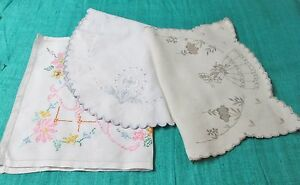 Antique Lot of 3 Embroidered Mats Nice Collection!