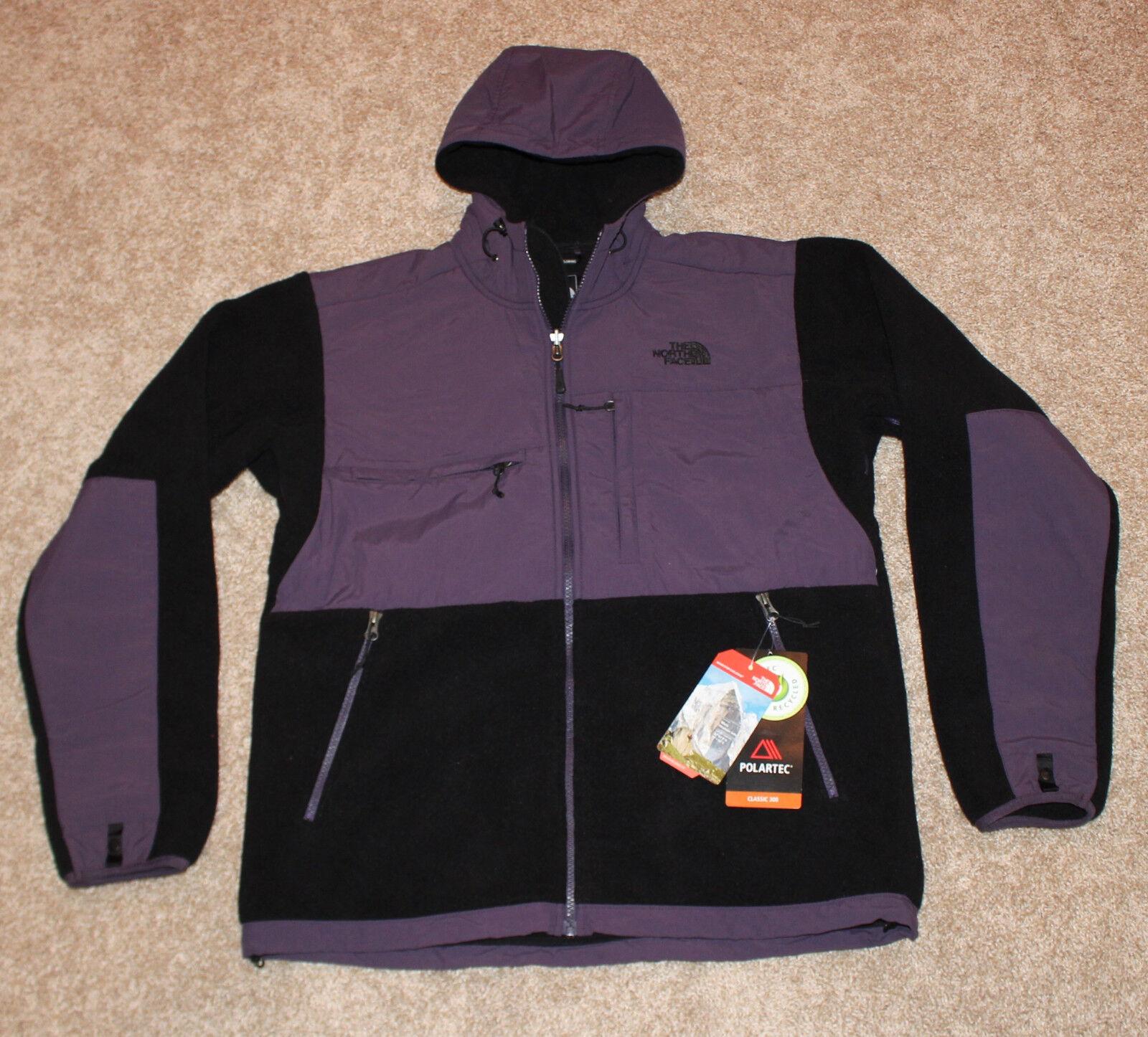 $199 New THE NORTH FACE Black MEN'S Small S Purple Hood Denali Fleece Jacket 300