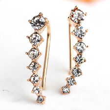 Ear Crawler Earring Set Crystal 14k Yellow Gold Vine Climber New Jewelry Fashion