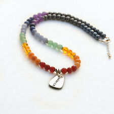 7 Chakra BALANCE Gemstone Necklace Hematite Gemstone Rainbow beads