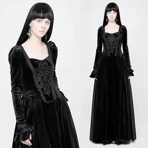 Details zu PUNK RAVE Gothic Kleid Mittelalterkleid Schwarz Lang Samt  Medieval Dress Black