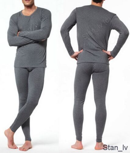 Mens Gray 2pc Thermal Set Long John Underwear Waffle Knit Top and Bottom Warm