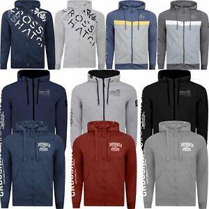 New-Mens-Hoodie-Crosshatch-Full-Zip-Sweatshirt-Hooded-Jumper-Top-Pullover-AW68