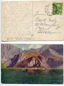 Austria-1908-postcard-Cattaro-Trieste-ship-mail