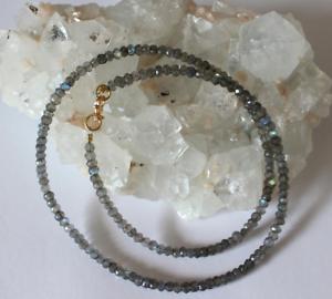 Labradorit-Kette-Edelsteinkette-Facettiert-halskette-Schmuck-blau-Schmmier-45-cm