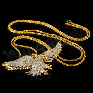 18k gold iced out cz bald eagle bird pendant stainless steel rope image is loading 18k gold iced out cz bald eagle bird mozeypictures Gallery