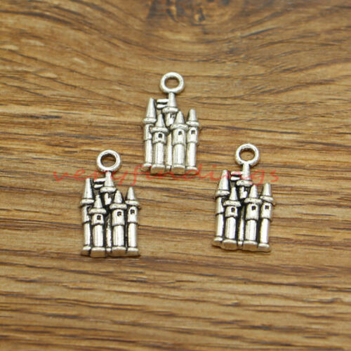 30 Castle Charms Medieval Building Church Charm Finding Antique Silver 10x20 360