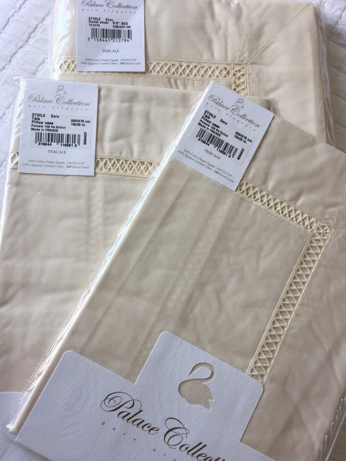 YVES DELORME ETOILE ECRU DUVET COVER SET 230 220CMS PALACE COLLECTION LUXURY