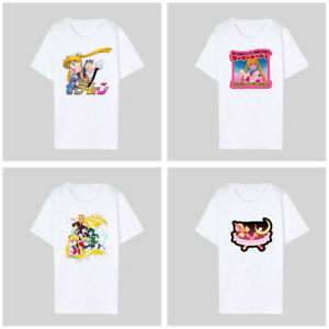 Women-White-Sailor-Moon-Print-T-Shirt-Basic-Tee-Crew-Neck-Summer-Tops-Casual