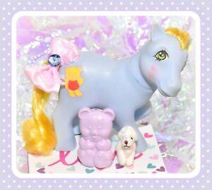 My-Little-Pony-MLP-G1-Vtg-Magic-Message-Cuddles-amp-Original-BEAR-BRUSH-Teddi