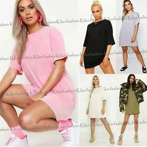 Mini-Vestido-Camisa-para-mujer-senoras-aclaran-Oversize-Holgado-Tunica-Larga-camiseta-De-La-Tapa
