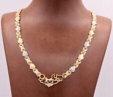"17"" I Love You Kisses & Hearts Necklace 14k Gold Clad Silver 925 XOXO Valentine"