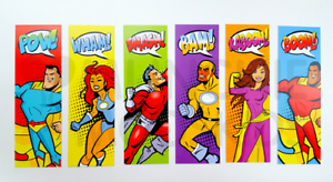 Pack-of-12-Superhero-Bookmarks-Reading-Teacher-Supplies-Party-Bag-Fillers