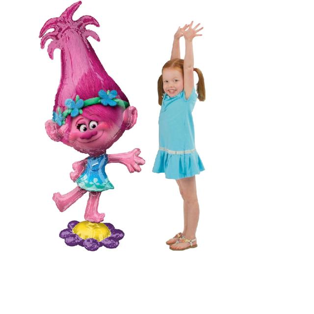 Trolls Poppy Airwalker Foil Balloon - Giant Gliding Balloon 23 x 58 Inches - New
