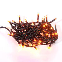 Halloween Light Set String Strand - Orange Teeny Rice Bulbs - 50 Ct Black Cord