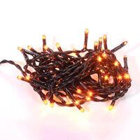 Halloween Light Set String Strand - Orange Teeny Rice Bulbs - 50 Ct Black Cord