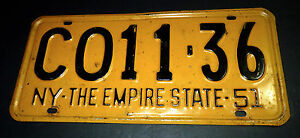 US-1951-NEW-YORK-METAL-NY-THE-EMPIRE-STATE-CO11-LICENSE-PLATE-AMERICA-HOT-ROD