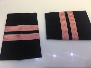EPAULETS SLIDERS 3 PINK BARS BLACK by WORLD PILOT SUPPLIES AIRLINES FIRST OFF