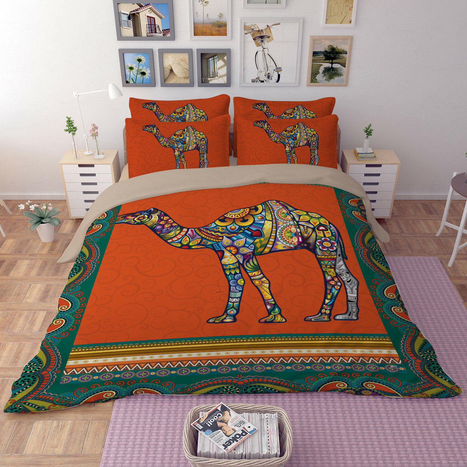 3D Painted Camel 69 Bed Pillowcases Quilt Duvet Cover Set Single Queen King CA