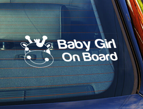 Static Cling Window Car Sign//Decal Baby Girl On Board Giraffe 3