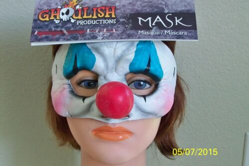 KIDS OR ADULTS HAPPY CLOWN HALF LATEX FACE MASK COSTUME TB27635