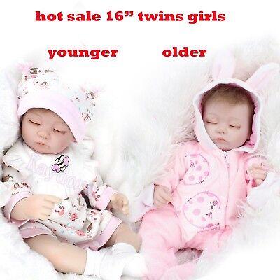 16/'/'Handmade Lifelike Baby Girl Doll Silicone Vinyl Reborn Newborn Dolls+Clothes
