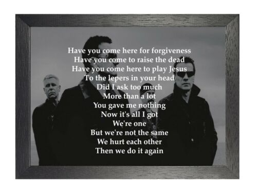 U2 One Irish Rock Band Poster Music Lyrics Black White Photo Bono Picture