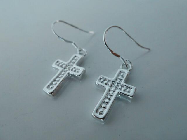 925 Sterling Silver (plated) CZ fashion dangle earring (Cross) Jewellery, NWT