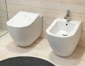 Bagno Francese Senza Bidet : Sanitari bagno fluid water bidet e coprivaso filo muro parete bianco
