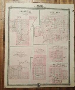 Nice Antique Map Plan Of Glenwood Denison Iowa Andreas Atlas