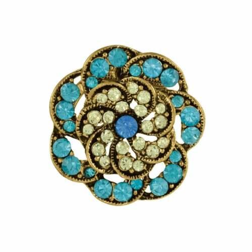 Estilo Vintage Turquesa y junquillo oro Bufanda Clip
