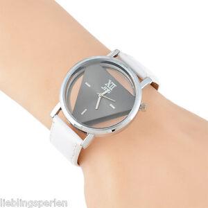 L-P-Unisex-Uhr-Armbanduhr-Quarzuhr-Analoguhr-Sportuhr-Watch-Dreieck-Hohle-24cm