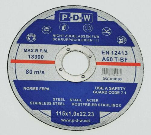 5 INOX Trennscheiben Ø 115 x 1,0 mm Extra dünn Flex-Scheiben Edelstahl P-D-W®