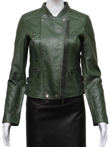 Brandslock Womens Genuine Leather Biker Jacket Brando Slim Fit