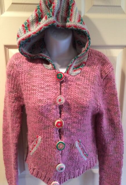 WEARING YOUR HEART ON YOUR SLEEVE Pink Wool Hoody Sweater Cardigan Buttons Sz M