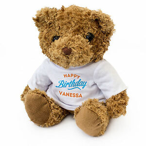 New Happy Birthday Vanessa Teddy Bear Cute And Cuddly Gift
