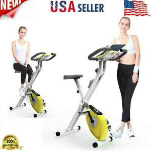 Foldable Stationary Upright Exercise Workout Indoor Cycling Bike Bicycle Yellow