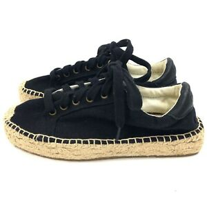 Soludos-Espadrilles-Sneaker-Size-5-Womens-Black-Canvas-Lace-Up