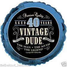 "AGE 40 40TH HAPPY BIRTHDAY 18"" FOIL BALLOON VINTAGE DUDE RETRO"