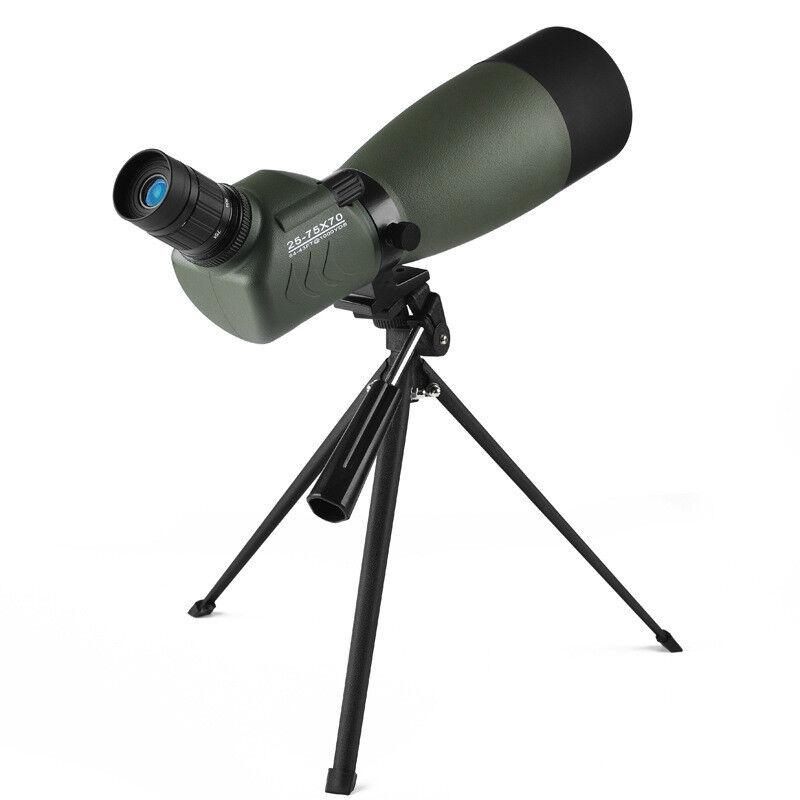 25-75x70 Waterproof Zoom Spotting Scope Telescope Long Range Target With Tripod