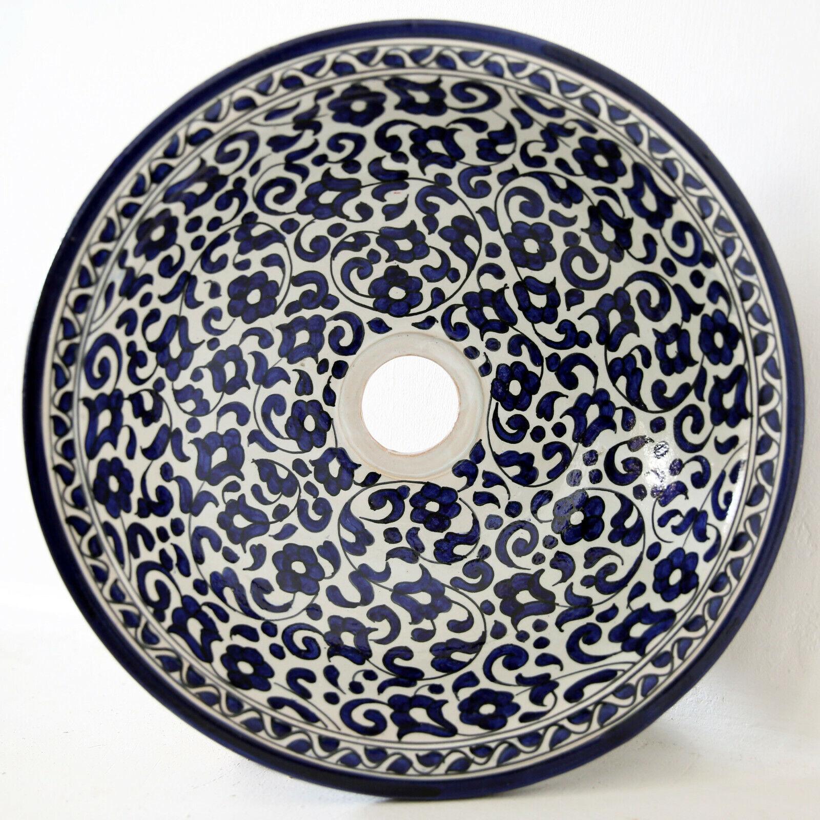 Marokkanisches Bacino Tondo Artigianale Ceramica Lavandino D35 Fes-V-Ii